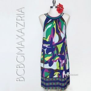 BCBGMaxAzria Dress Strappy Colorful Stretchy Loose